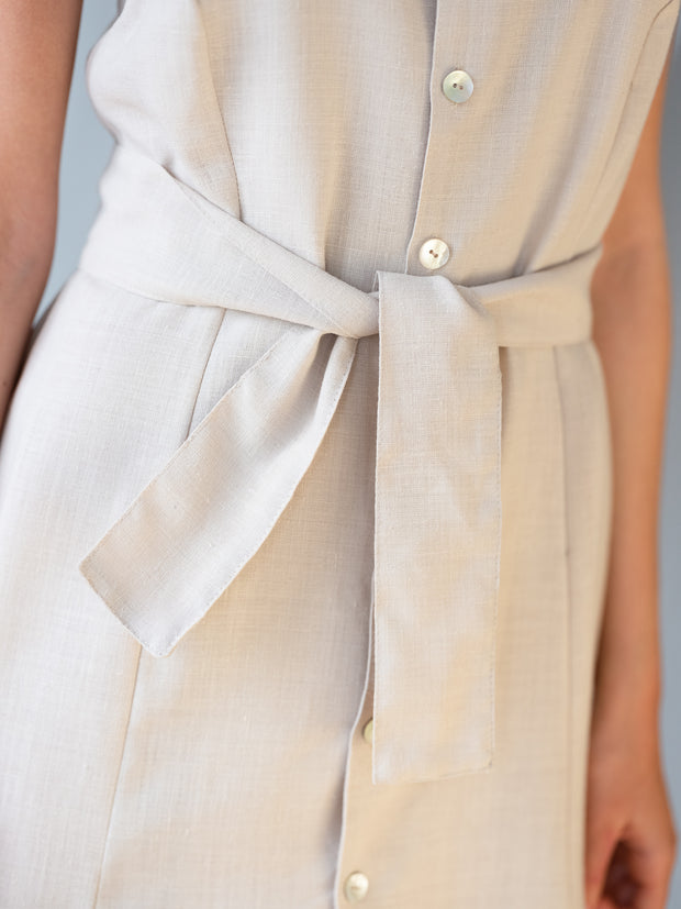 Abril Beige or Blue Navy Linen Dress