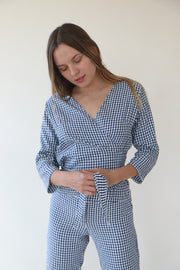 Vichy Rosemary Wrap blouse
