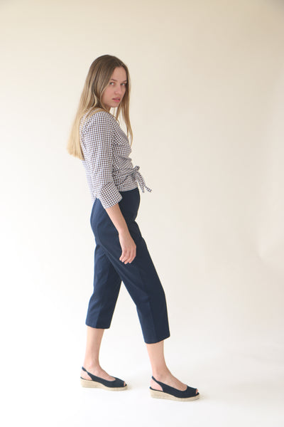 Lavender Navy Blue Capri Pants