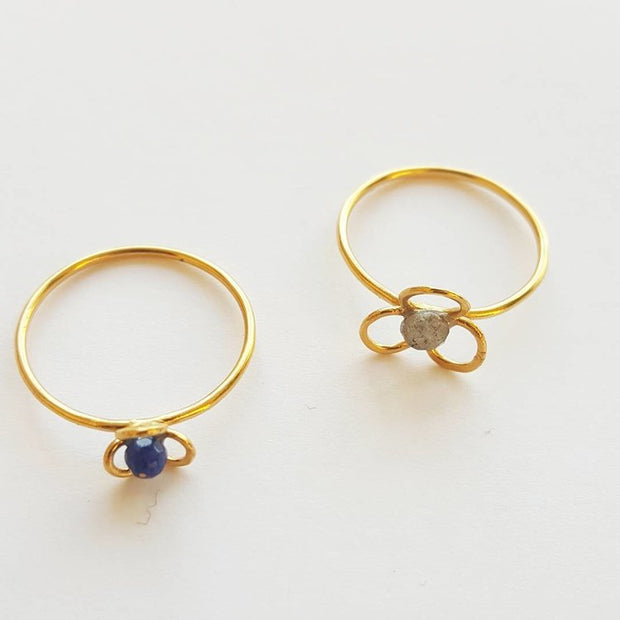 Yellow Gold Stone Flower Rings