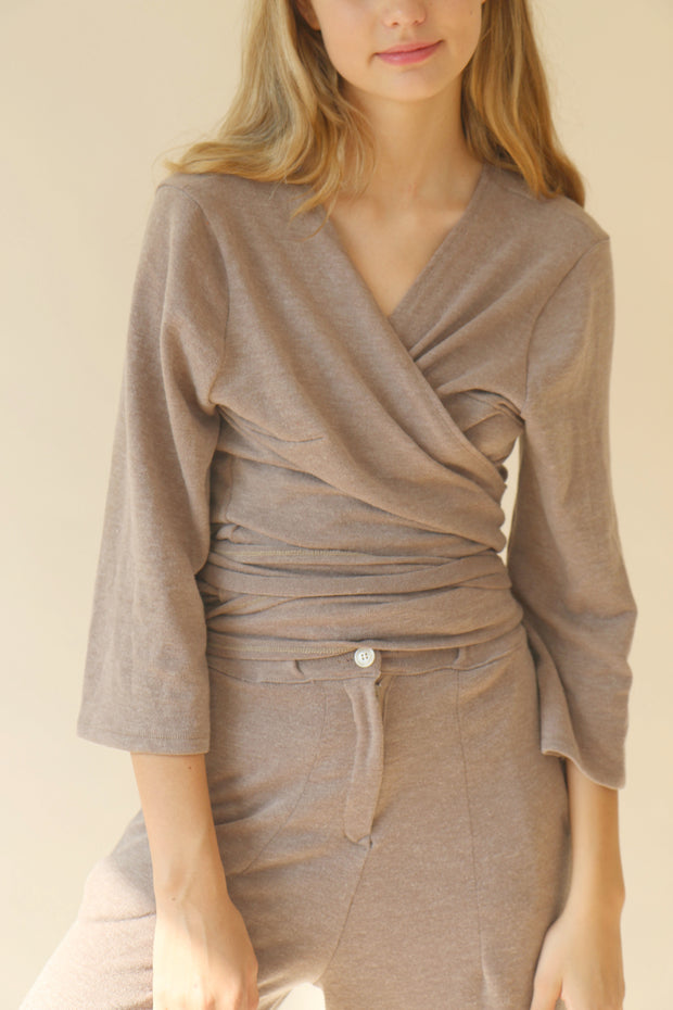 Pale Brown Gabin Wrap Blouse