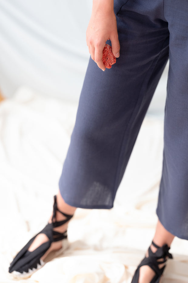 Marina Linen Blue Navy Trousers