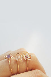 The Rosé Gold Stone Flower Rings