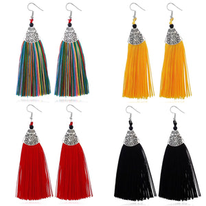 Tassel Drop Tibetan Design Earrings - msuclassy
