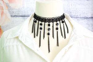 Black Lace Choker Necklace with Chains and Bead - msuclassy