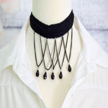 Lace Choker Necklace with beads Black and Silver Colour Chains - msuclassy