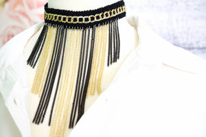 Lace Choker Necklace with Gold and Black Chains - msuclassy