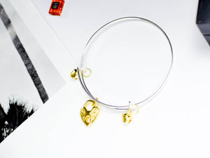 Silver Colour Adjustable Bangle with Gold Colour Charm - msuclassy