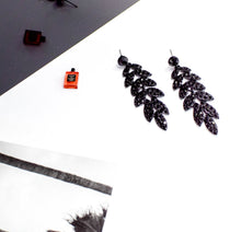 Black Colour Stones Dangle Earrings - msuclassy