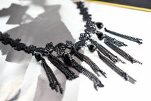 Black Lace Choker Necklace with Beads and Chains - msuclassy