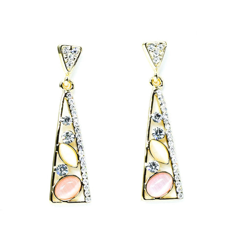 Triangular Gemstone Dangle Earrings - msuclassy