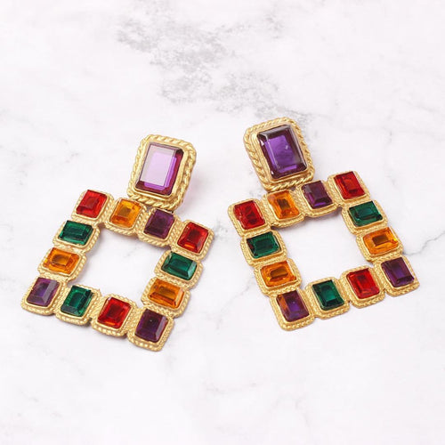 Multicolour Square Earrings - msuclassy