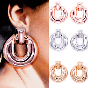 Round Metal Chunky Earrings - msuclassy