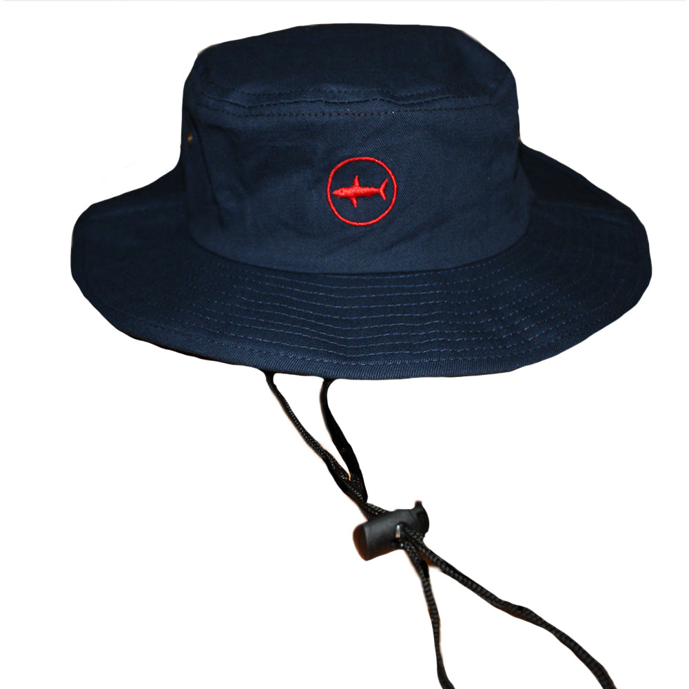 5f13ec7f47902 Kids Navy Classic Bucket Hat With Red Under Brim and Circle Shark Logo ...