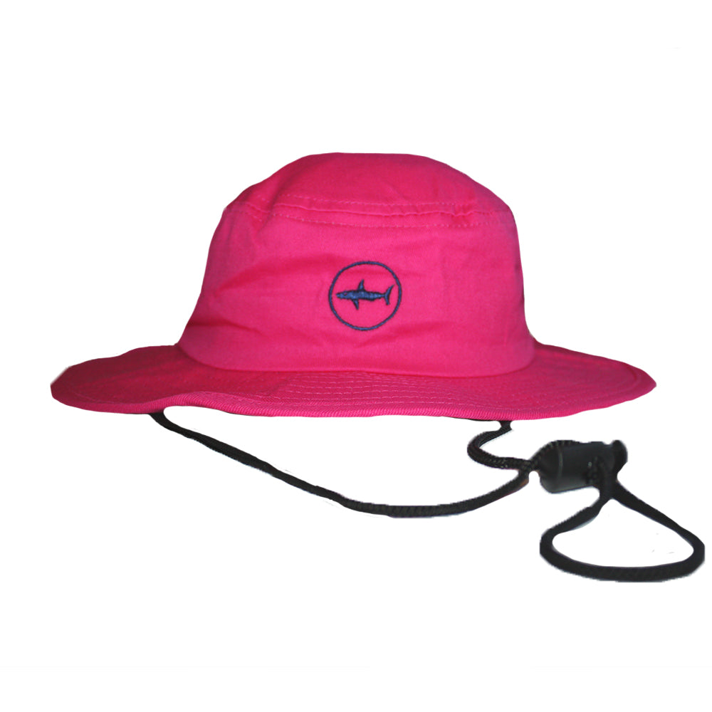 ... Kids Hot Pink Classic Bucket Hat with Navy Under Brim and Circle Shark  Logo ... 0ff05aca3e2