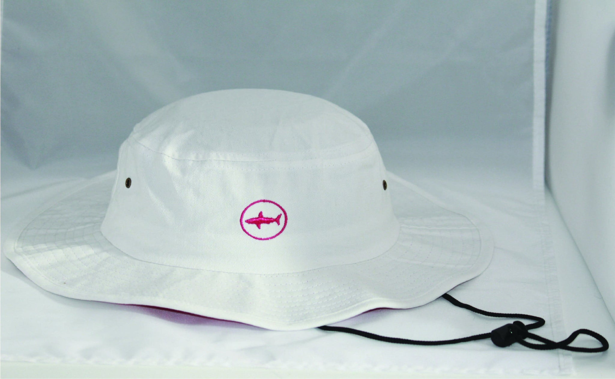 Adult White Classic Bucket Hat With Hot Pink Under Brim and Circle Shark  Logo ... 76272059f5c