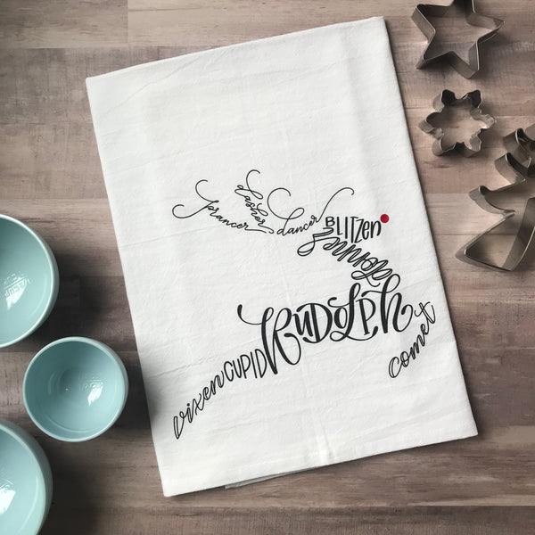 Reindeer Tea Towel