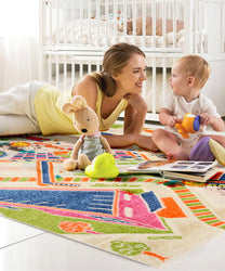 3D Multi City Children Rug