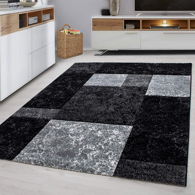 Black Checked Rug | Rug Masters | Free UK Delivery