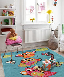 Alaska Owl Blue Children Rug