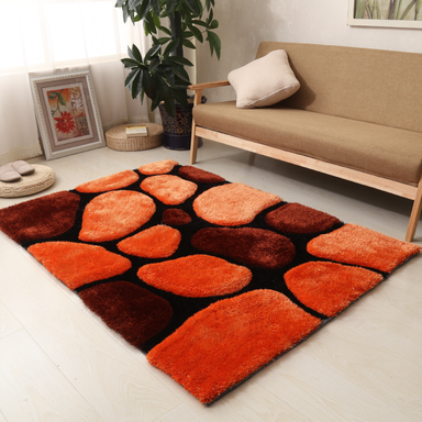 Terracotta 3D Pebbles Shaggy Rug - Hawaii | Rug Masters