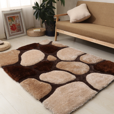 Brown and Beige 3D Pebbles Shaggy Rug - Hawaii | Rug Master