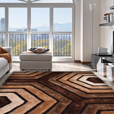 Brown 3D Tides Shaggy Rug - Hawaii | Rug Masters