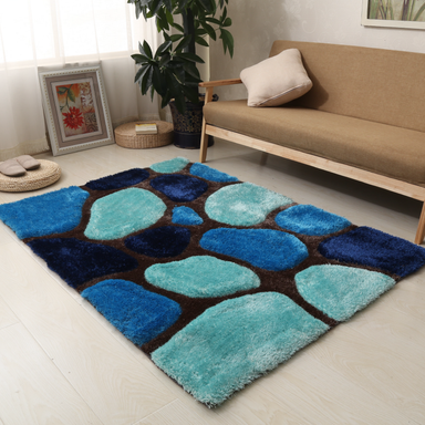 Blue and Navy 3D Pebbles Shaggy Rug - Hawaii | Rug Masters