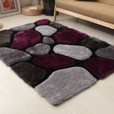 Purple and Grey 3D Pebbles Shaggy Rug - Hawaii | Rug Masters