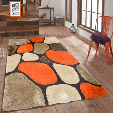 Orange and Brown 3D Pebbles Shaggy Rug - Hawaii | Rug Masters