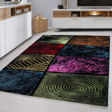 Multicolour Checked Rug | Rug Masters | Free UK Delivery