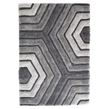 Grey 3D Tides Shaggy Rug - Hawaii | Rug Masters
