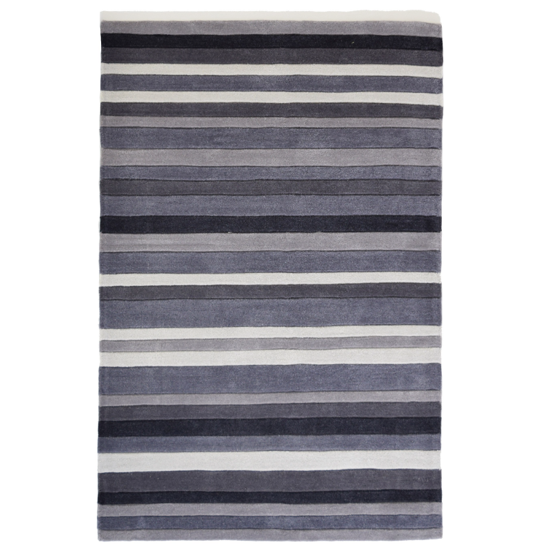 Grey Striped Rug | Rug Masters | Free UK Delivery