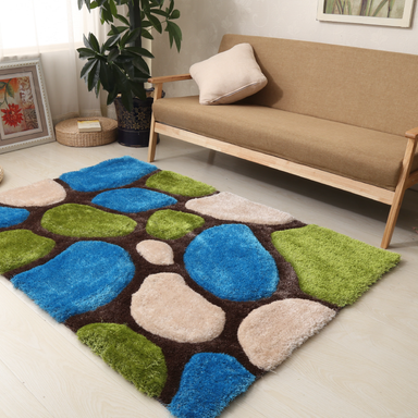Blue and Green 3D Pebbles Shaggy Rug - Hawaii | Rug Masters