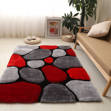 Red and Grey 3D Pebbles Shaggy Rug - Hawaii | Rug Masters
