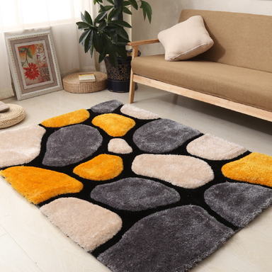 Yellow and Grey 3D Pebbles Shaggy Rug - Hawaii | Rug Master
