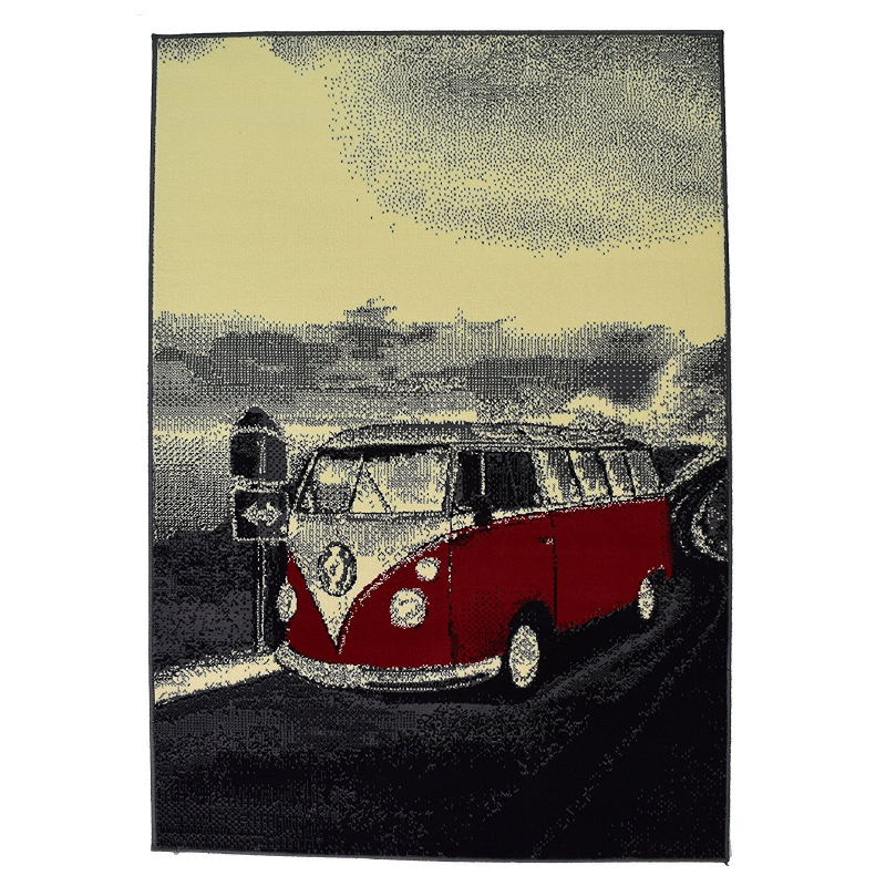 Grey and Red Retro Campervan Rug - Texas | Rug Masters