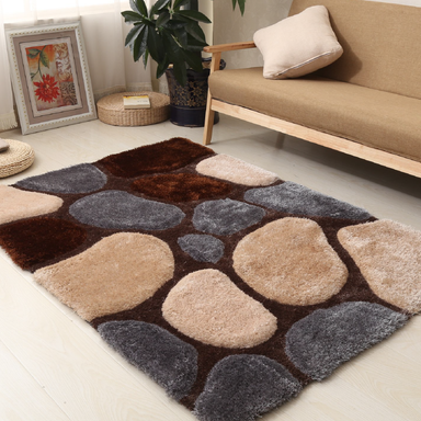 Brown and Grey 3D Pebbles Shaggy Rug - Hawaii | Rug Masters