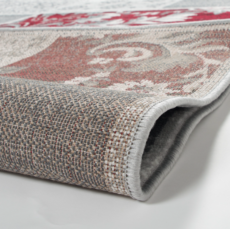 Grey and Red Modern Faded Patchwork - Texas | Rug Masters