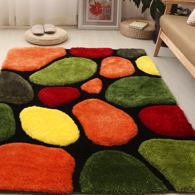 Multicoloured 3D Pebbles Shaggy Rug - Hawaii | Rug Masters