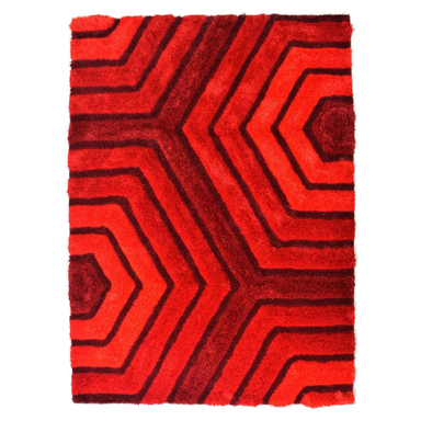 Red 3D Tides Shaggy Rug - Hawaii | Rug Masters