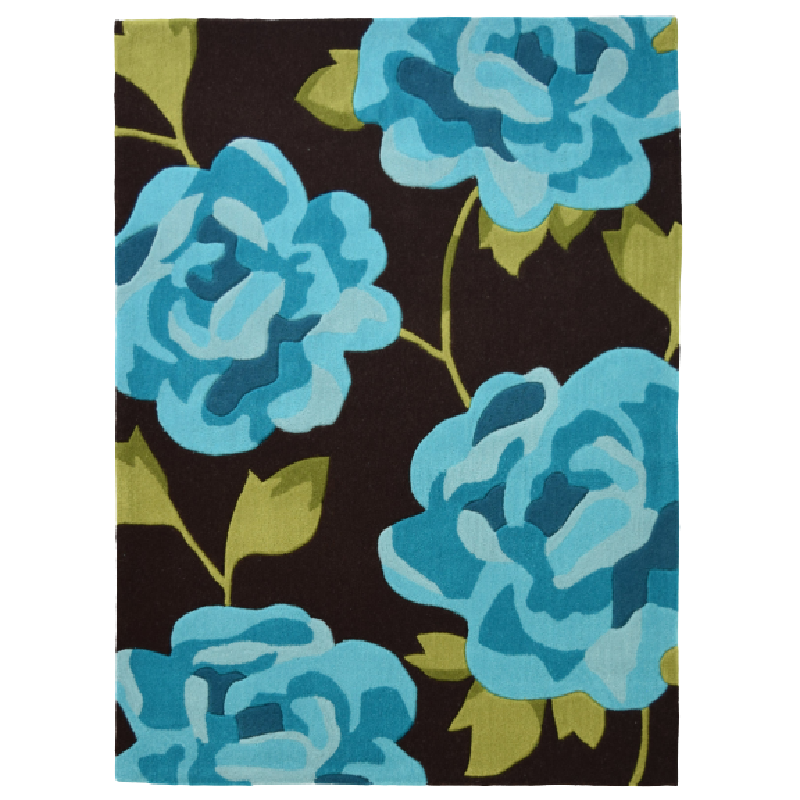 Teal and Brown Flower Rug - Nevada