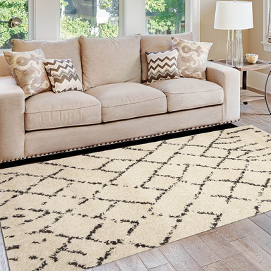 Cream Rustic Diamond Boho Rug - Michigan | Rug Masters