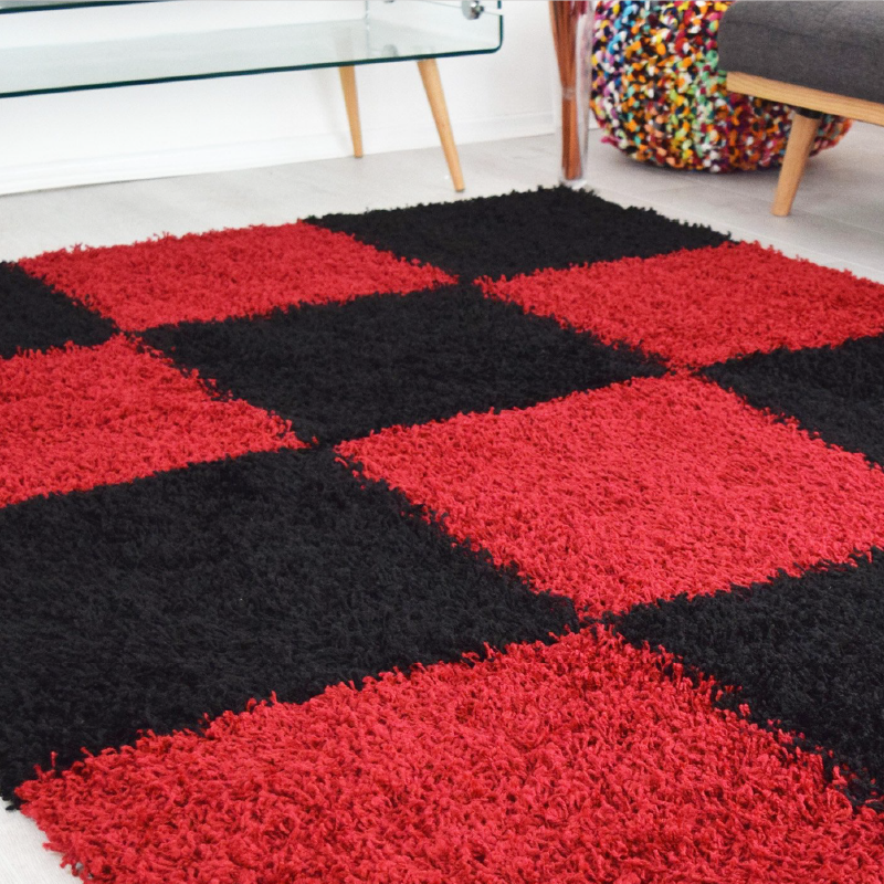 Checked Shaggy Rug | Rug Masters | Free UK Delivery
