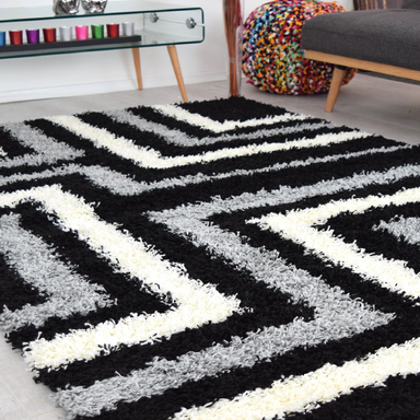 Striped Shaggy Rug | Rug Masters | Range Of Sizes Available