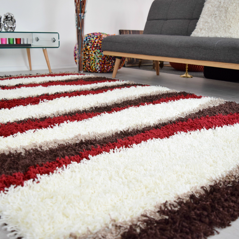 Striped Shaggy Rug | Rug Masters | Free UK Delivery