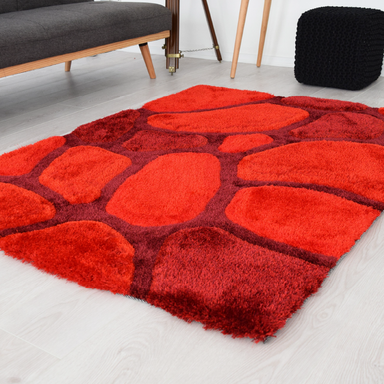 Red 3D Pebbles Shaggy Rug - Hawaii | Rug Masters