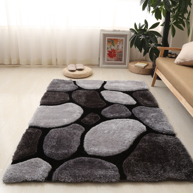 Black and Grey 3D Pebbles Shaggy Rug - Hawaii | Rug Masters