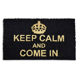 Goa Coir Mat - Keep Calm Black - Rug Masters