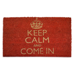 Goa Coir Mat - Keep Calm Red - Rug Masters